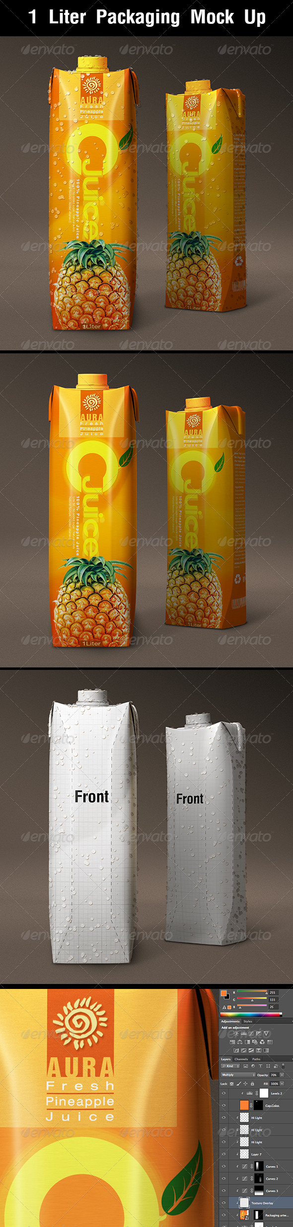 1 Liter Carton Packaging Mock Up - Food and Drink Packaging