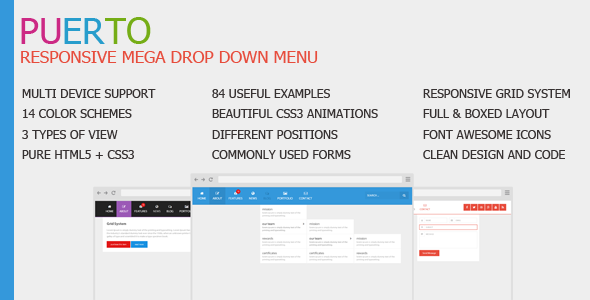 Puerto Responsive Mega Drop Down Menu Nulled Scripts