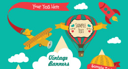Vintage Cards, Banners, Frames and Ribbons