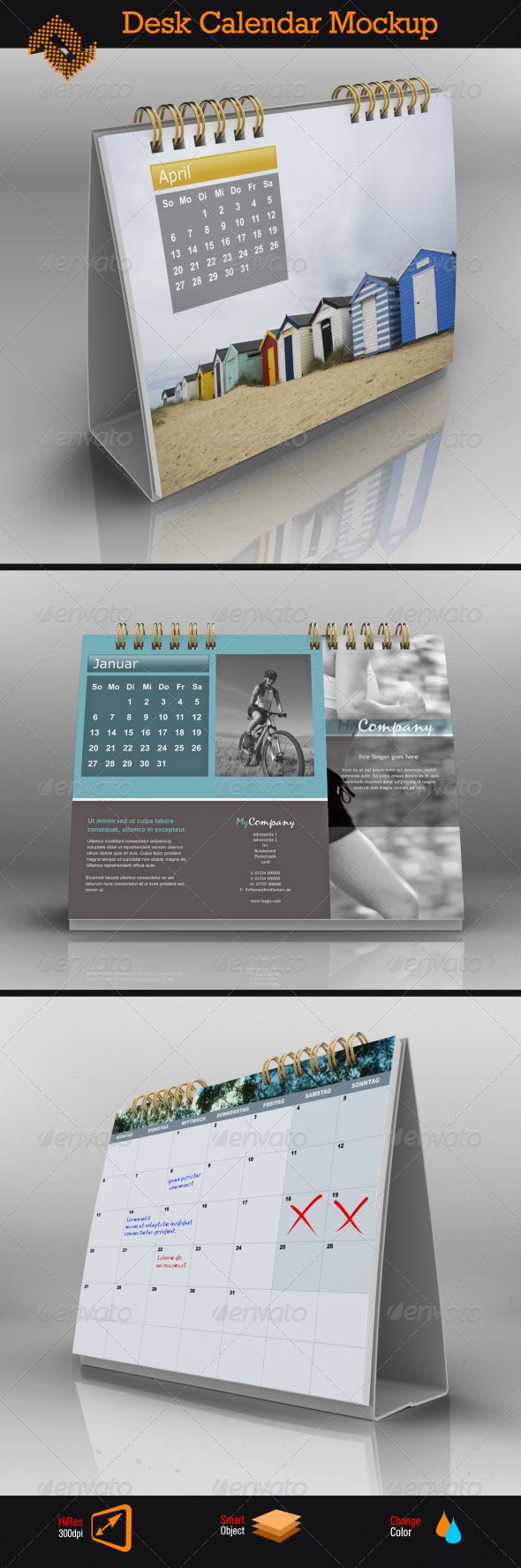 Table Calendar Mockup : Landscape desk calendar mock up by fusionhorn graphicriver