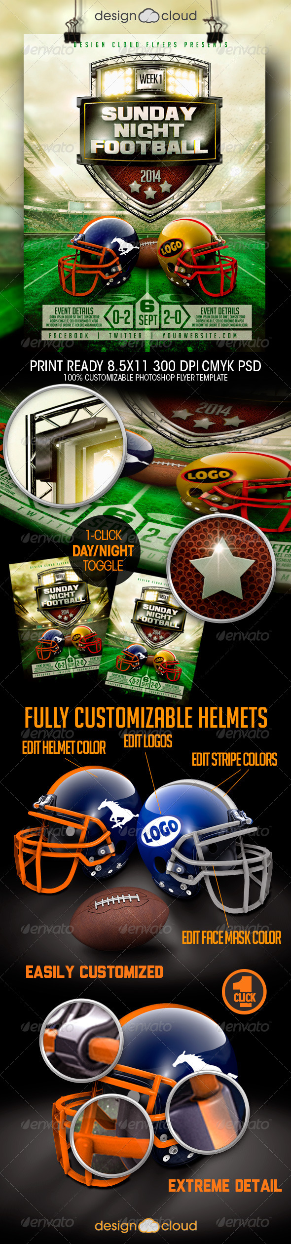 Football Game Day and Night Event Flyer Template - Sports Events