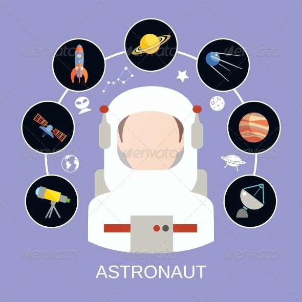 Astronaut and Space Icons - Industries Business