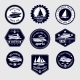 Sailboats Travel Labels Icons Set - GraphicRiver Item for Sale