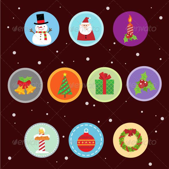 10 Flat Christmas Icons  - Seasonal Icons