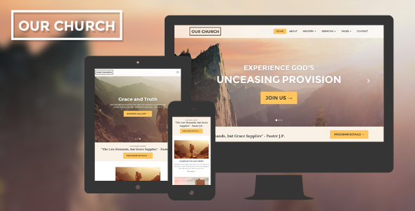 Church Website Template Responsive - Our Church - Churches Nonprofit