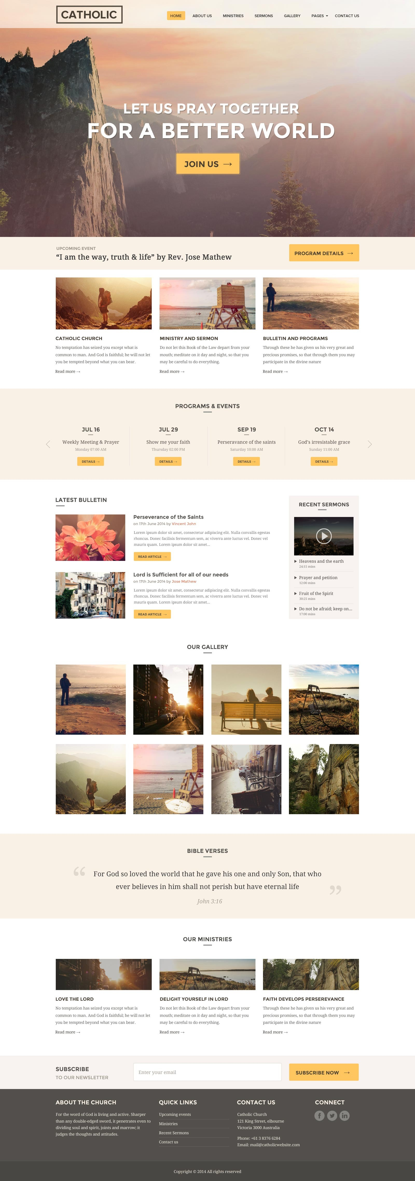 Church Website Template Responsive - Our Church by surjithctly ...