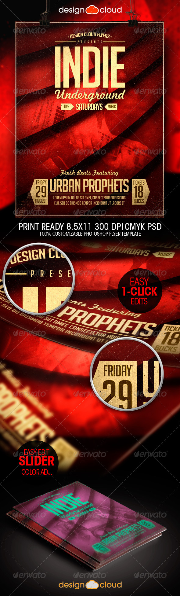 Indie Underground Poster / Flyer Template - Concerts Events