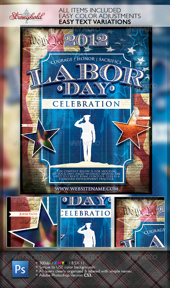 Vintage Labor Day Flyer Template By Getstronghold | Graphicriver