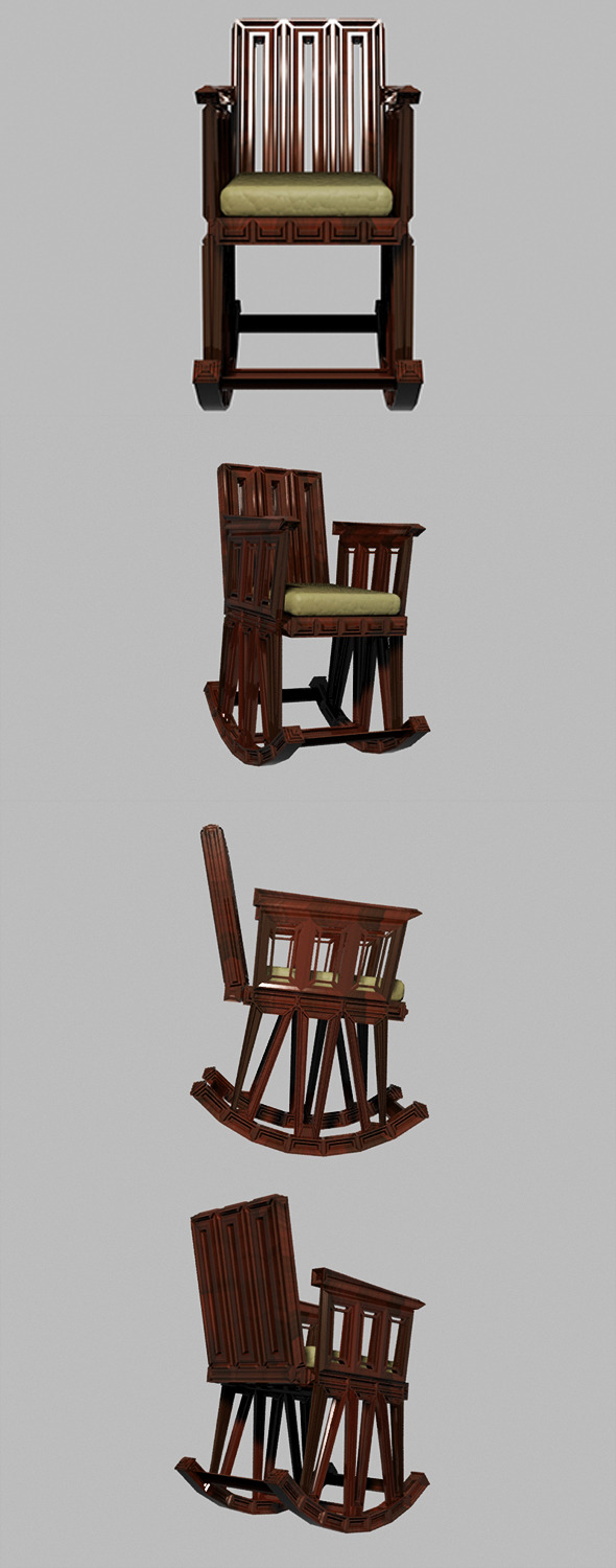 Wooden Rocking Chair - 3DOcean Item for Sale