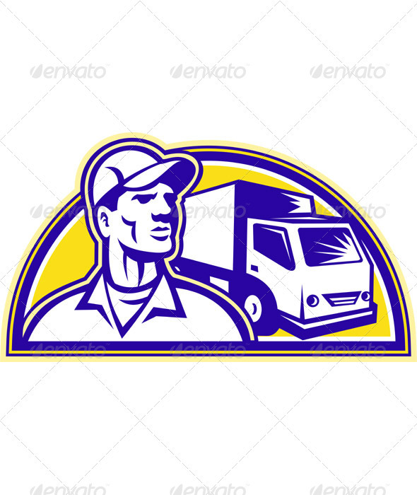 Removal Man Delivery Guy with Moving Van - People Characters