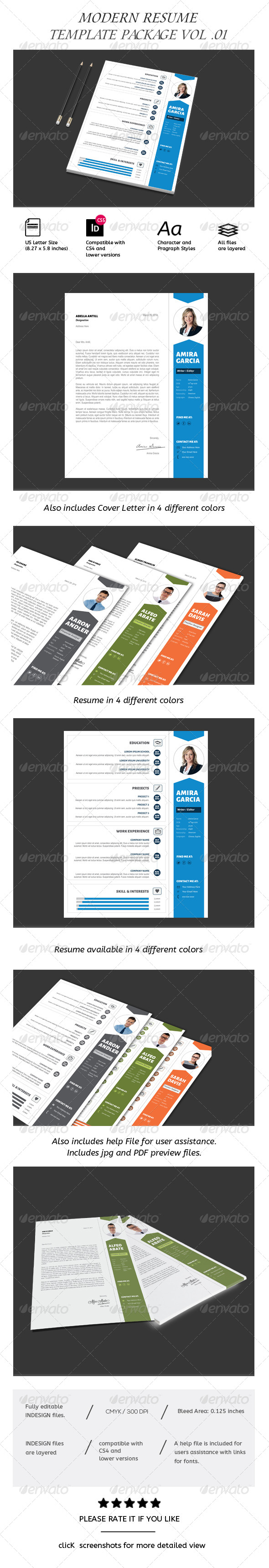 Clean Resume & Coverletter/CV Template - Resumes Stationery