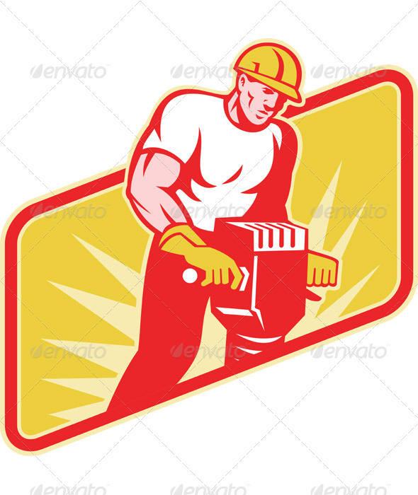 Construction Worker Drilling with Jack Hammer - People Characters