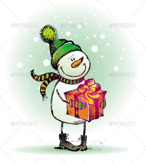 Hand Drawn Snowman With Gift  - Christmas Seasons/Holidays