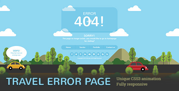 Travel Error Page - 404 Pages Specialty Pages