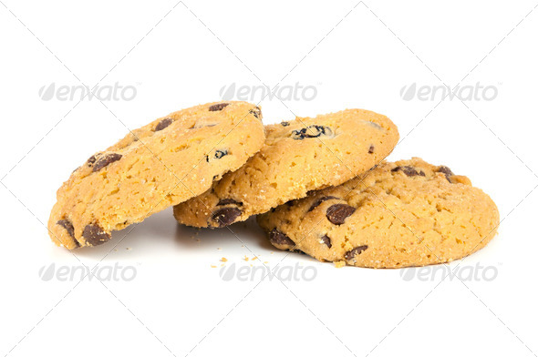 Chocolate chips cookies on white background - Stock Photo - Images