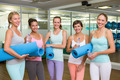 Smiling women in fitness studio before yoga class at the leisure center