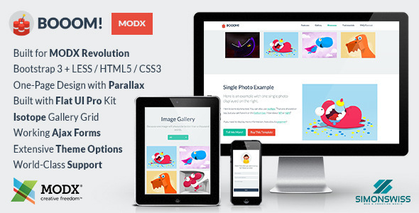 Booom! – Bootstrap Flat UI Pro Theme For MODX