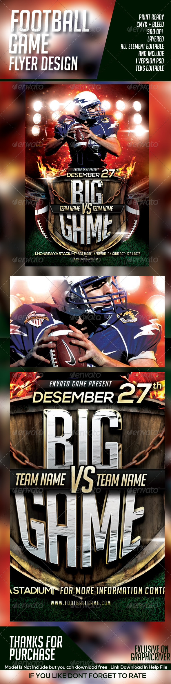 BIG GAME FOOTBALL FLYER - Sports Events