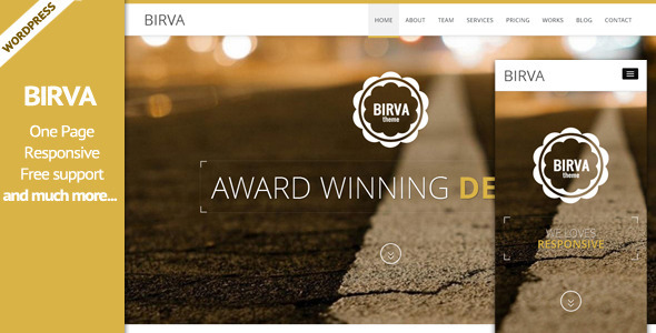 BIRVA3 – Responsive Multipurpose One Page WP Theme
