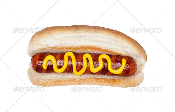 Hotdog with mustard - Stock Photo - Images