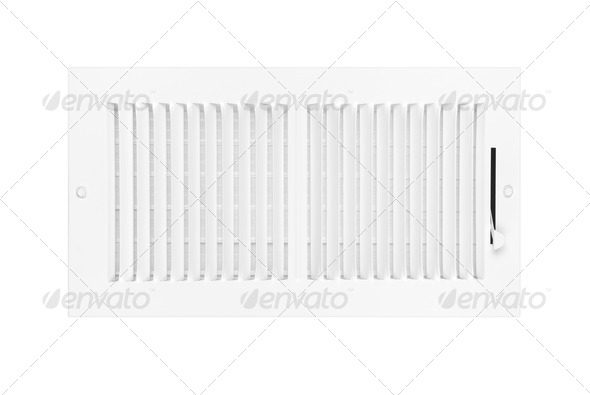 Air conditioning and heating vent on white - Stock Photo - Images