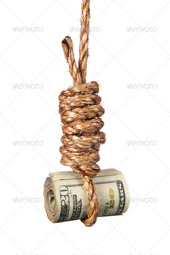 Cash in noose - Stock Photo - Images