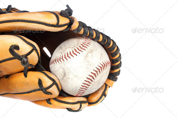 Baseball and glove on white background - Stock Photo - Images