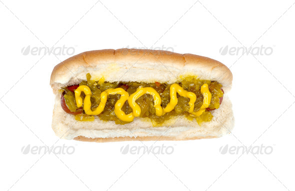 Hotdog with mustard and relish - Stock Photo - Images