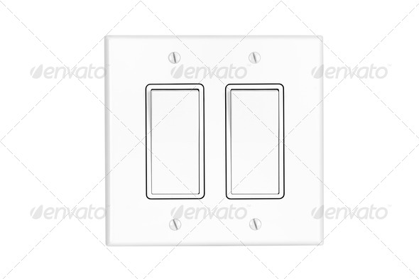 Dual light switch on white - Stock Photo - Images