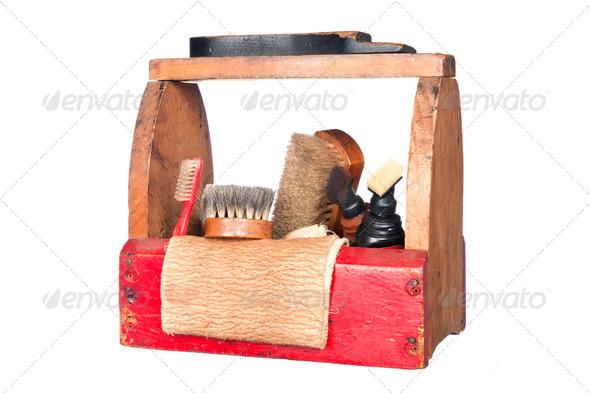 Antique shoe shine box - Stock Photo - Images