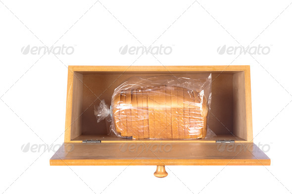 Bread box on white - Stock Photo - Images