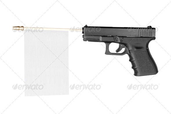 Flag and firearm - Stock Photo - Images