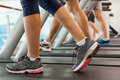 Row of people working out on treadmills at the gym - PhotoDune Item for Sale