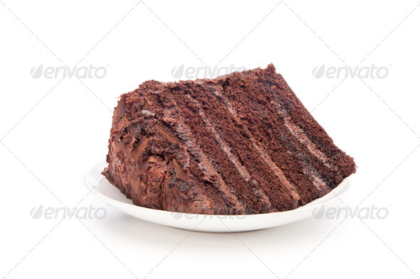 Chocolate cake slice - Stock Photo - Images