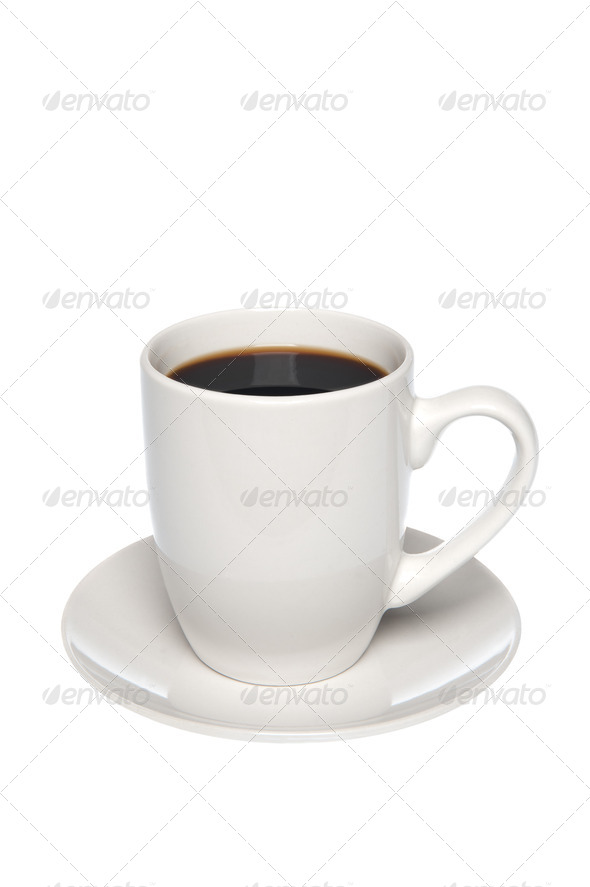 Cup of coffee on saucer - Stock Photo - Images