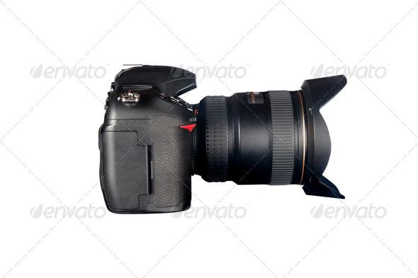 DSLR camera on white - Stock Photo - Images