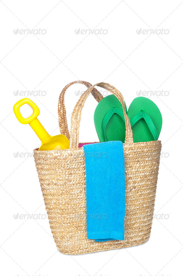 Beach bag - Stock Photo - Images