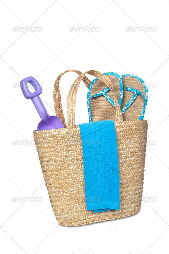 Beach bag - Stock Photo - Images