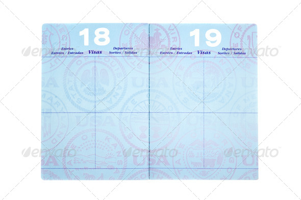 Passport with visa pages - Stock Photo - Images