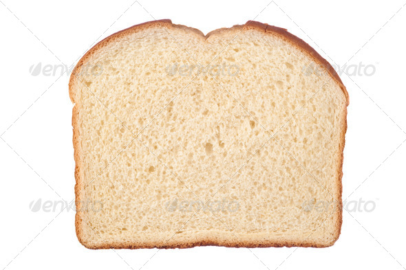 Slice of bread isolated on white - Stock Photo - Images