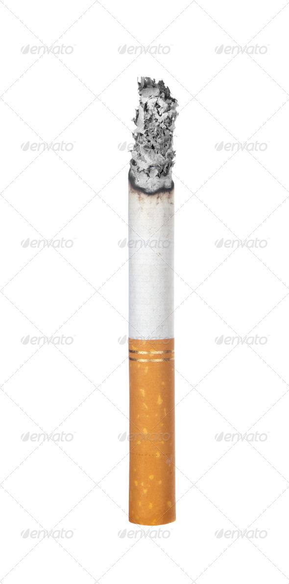 Burning cigarette isolated on white - Stock Photo - Images
