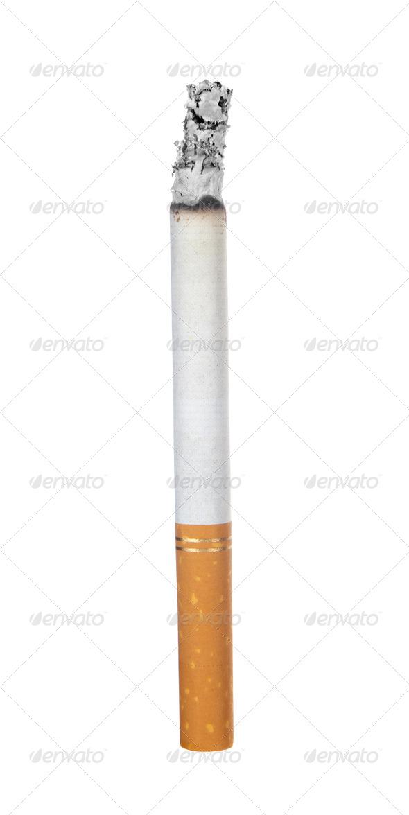 Burning cigarette on white - Stock Photo - Images