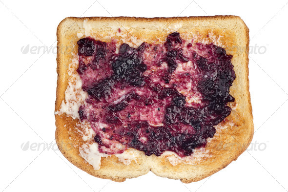 Toast with jam and butter - Stock Photo - Images