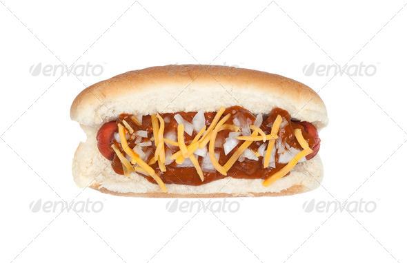 Chili cheese dog - Stock Photo - Images