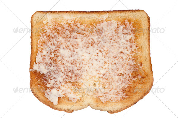 Toast with butter on white - Stock Photo - Images
