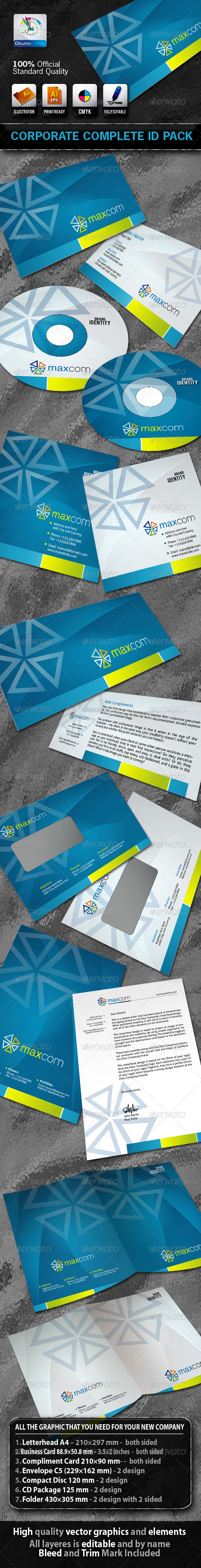 MaxCom Business Corporate ID Pack With Logo - Stationery Print Templates