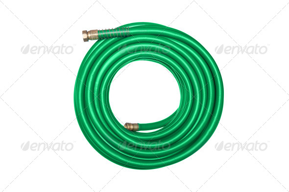 Green hose isolated on white - Stock Photo - Images