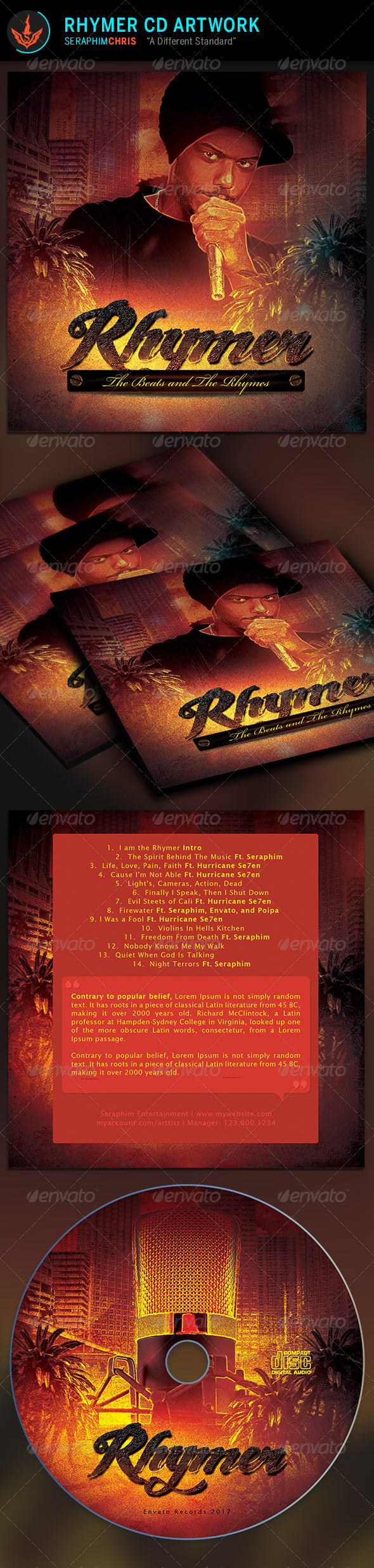 Rhymer CD Artwork Template - CD & DVD Artwork Print Templates