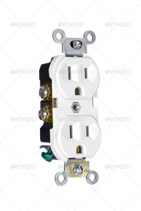 Power outlet on white - Stock Photo - Images