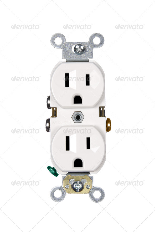 Electrical outlet on white - Stock Photo - Images